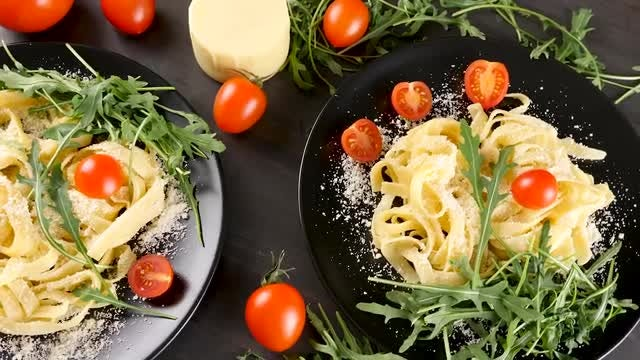 Pasta With Parmesan Cheese: Stock Video