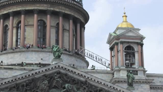 Visitors Climbing The Church Dome : Stock Video
