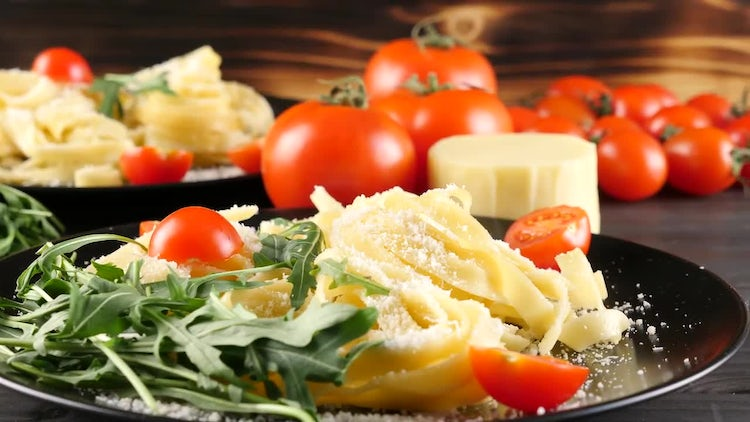 Pasta Plates With Fresh Ingredients: Stock Video