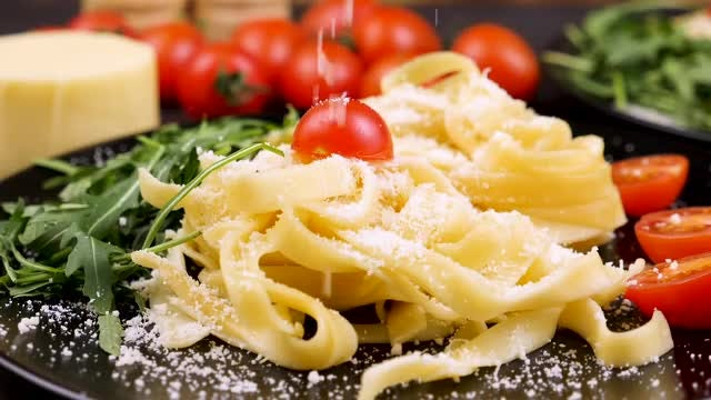 Slow Motion Parmesan Cheese Falling: Stock Video