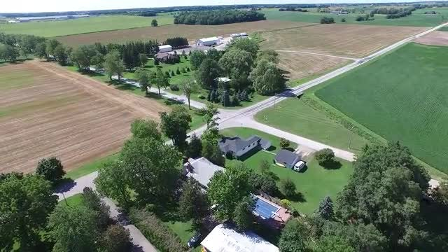 Aerial Of Intersection In Countryside: Stock Video