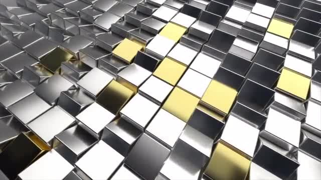 3D Gold And Silver Rotating Cubes: Stock Motion Graphics