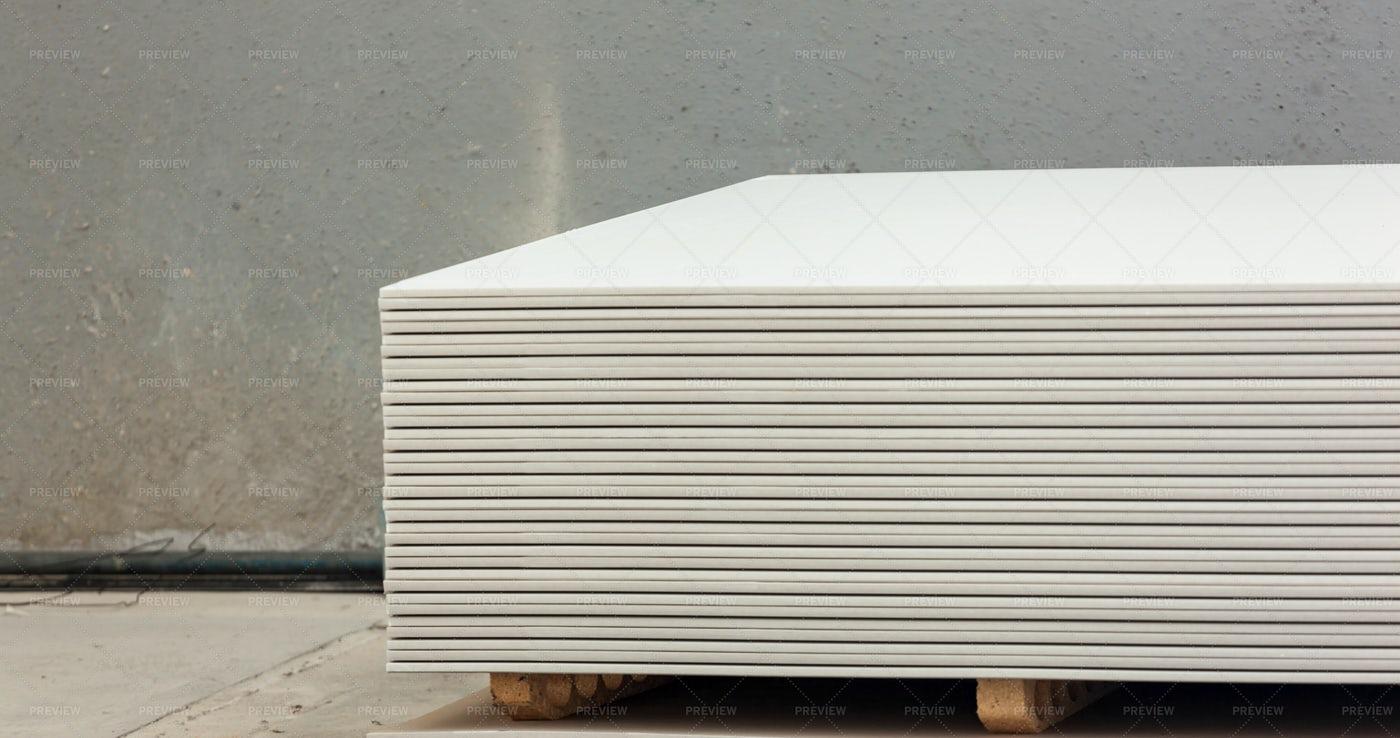 Stacking Of White Gypsum Panels: Stock Photos
