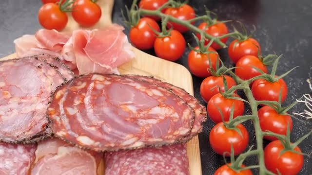 Salami With Pastrami And Vegetables: Stock Video