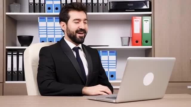 Businessman Preparing For Video Meeting: Stock Video
