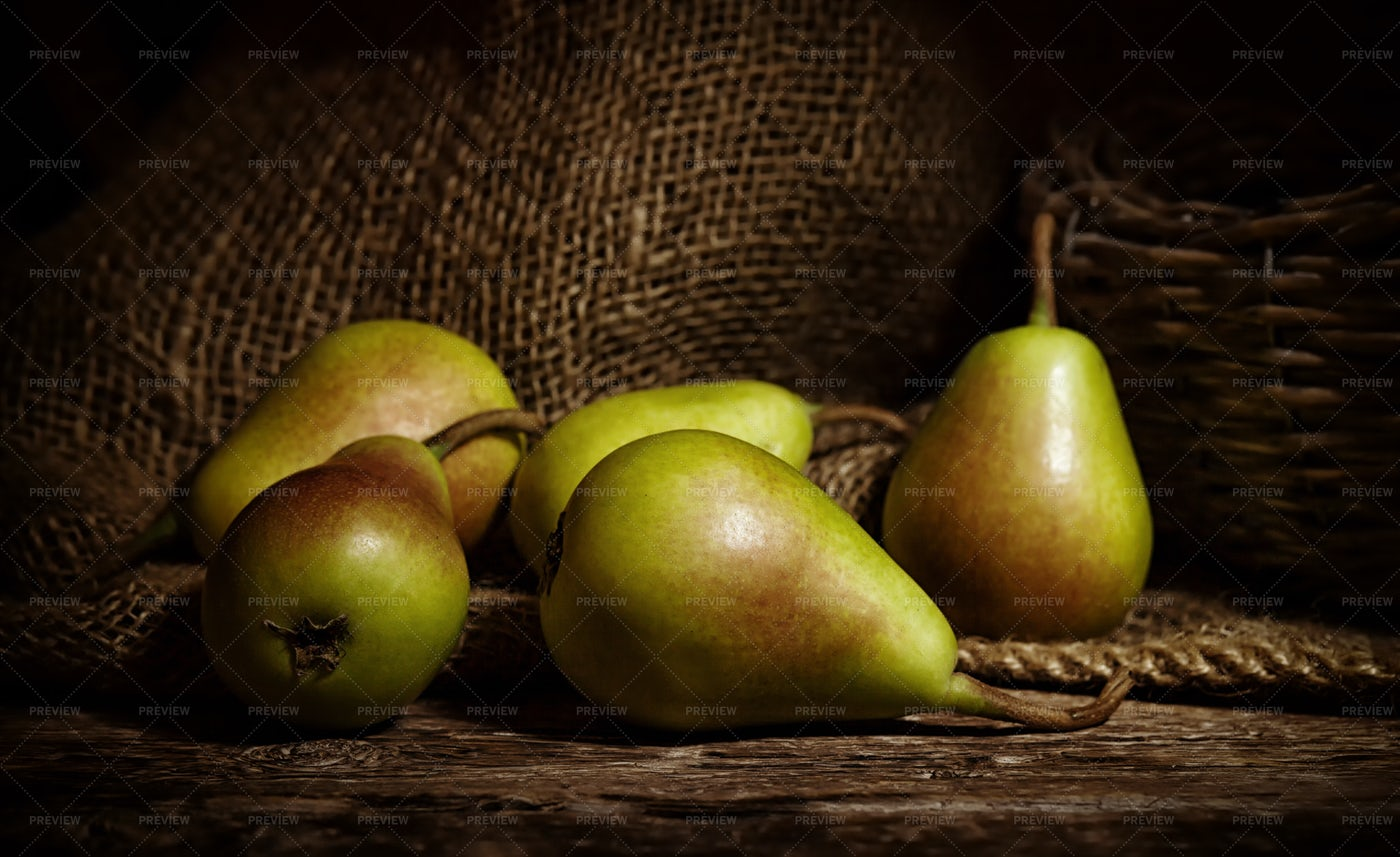 Pears On Wooden Table: Stock Photos