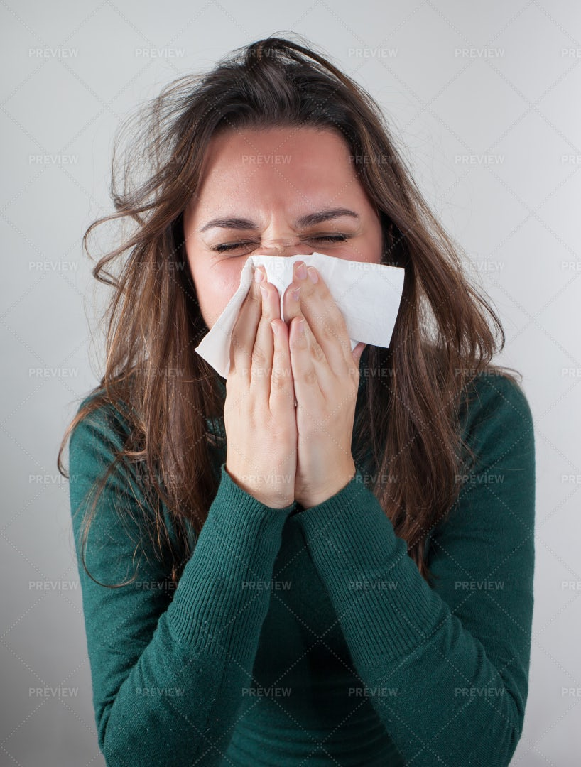 Woman Blowing Her Nose: Stock Photos