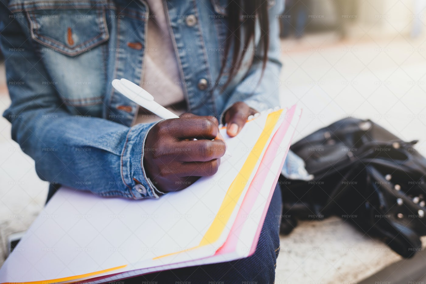 Writing Notes In A Notebook: Stock Photos