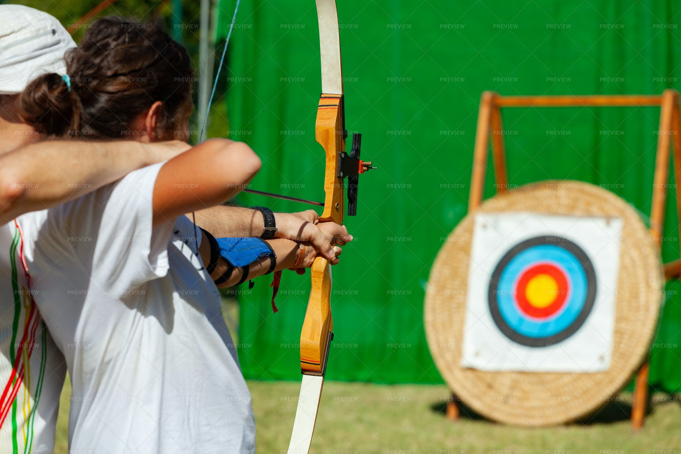 Outdoor Archery Lesson.: Stock Photos