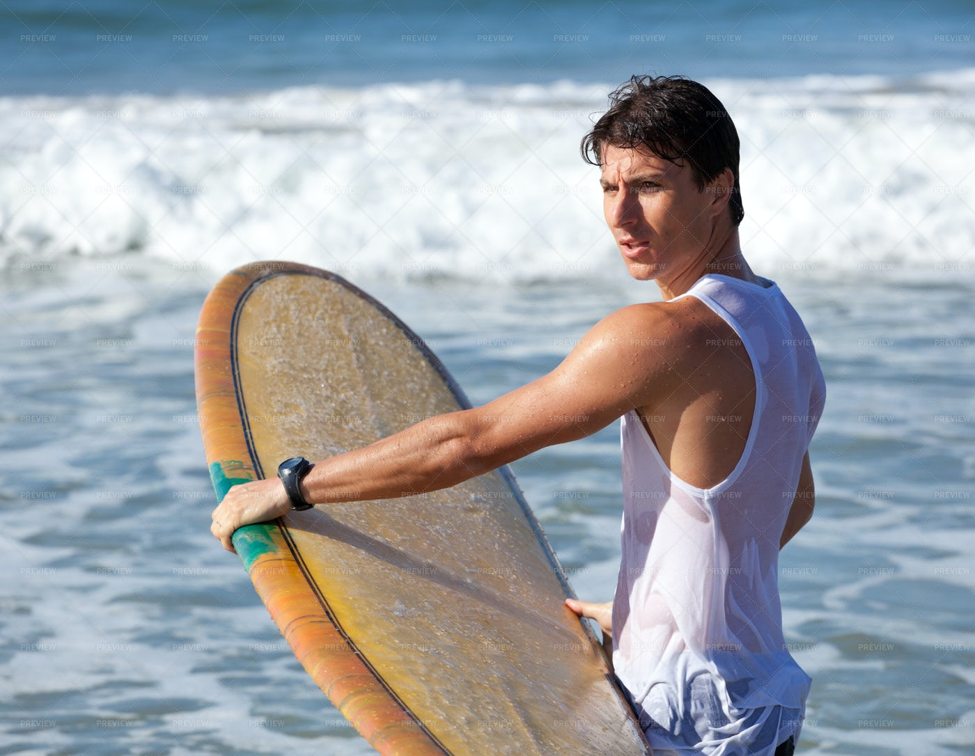 Surfer With Longboard: Stock Photos