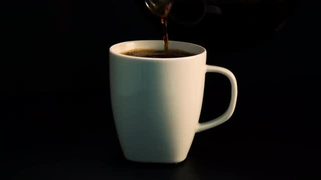 Pouring Black Coffee Into Cup: Stock Video