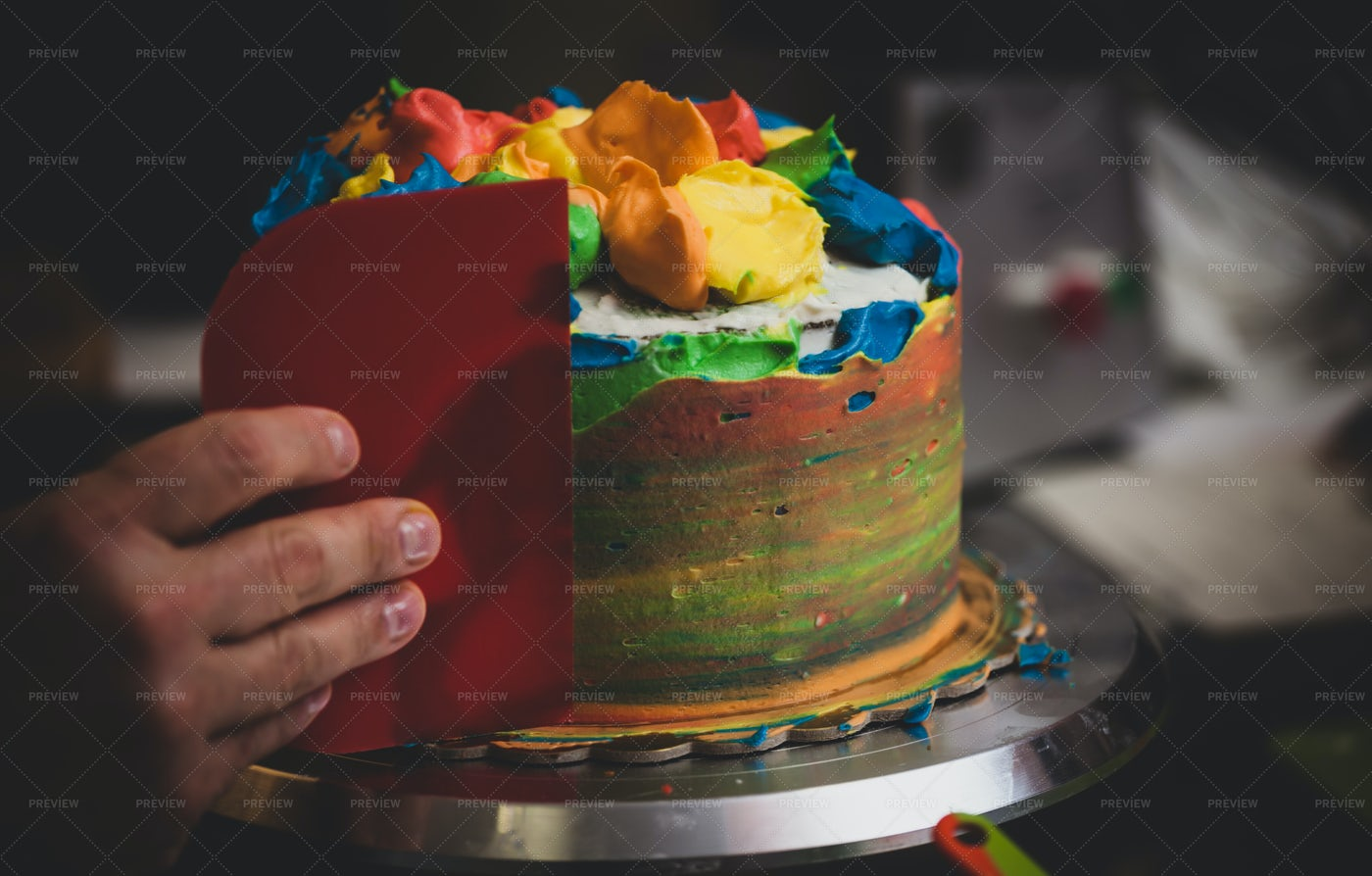 Preparation Of Colorful Cake: Stock Photos