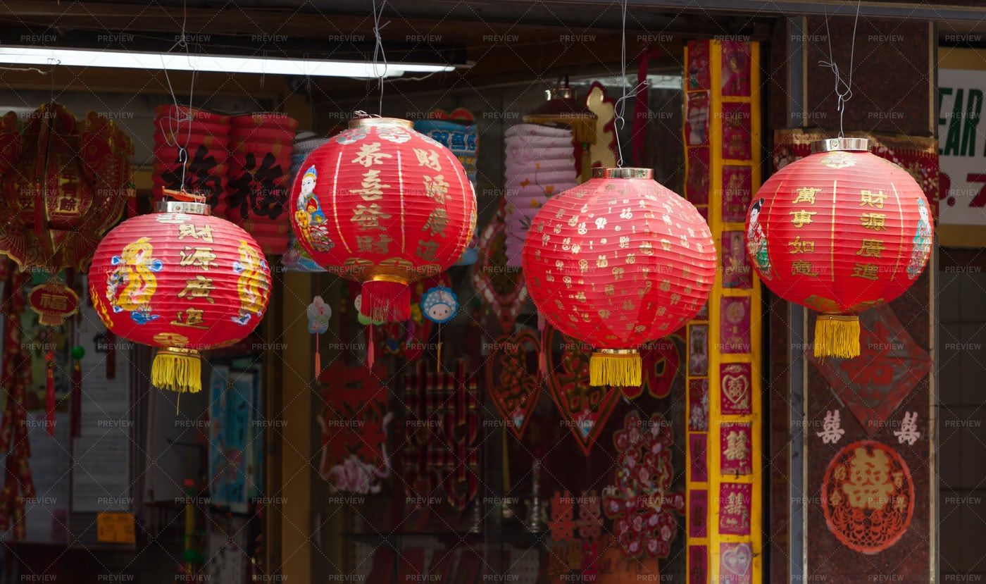 Red Chinese Lamp In Chinatown: Stock Photos