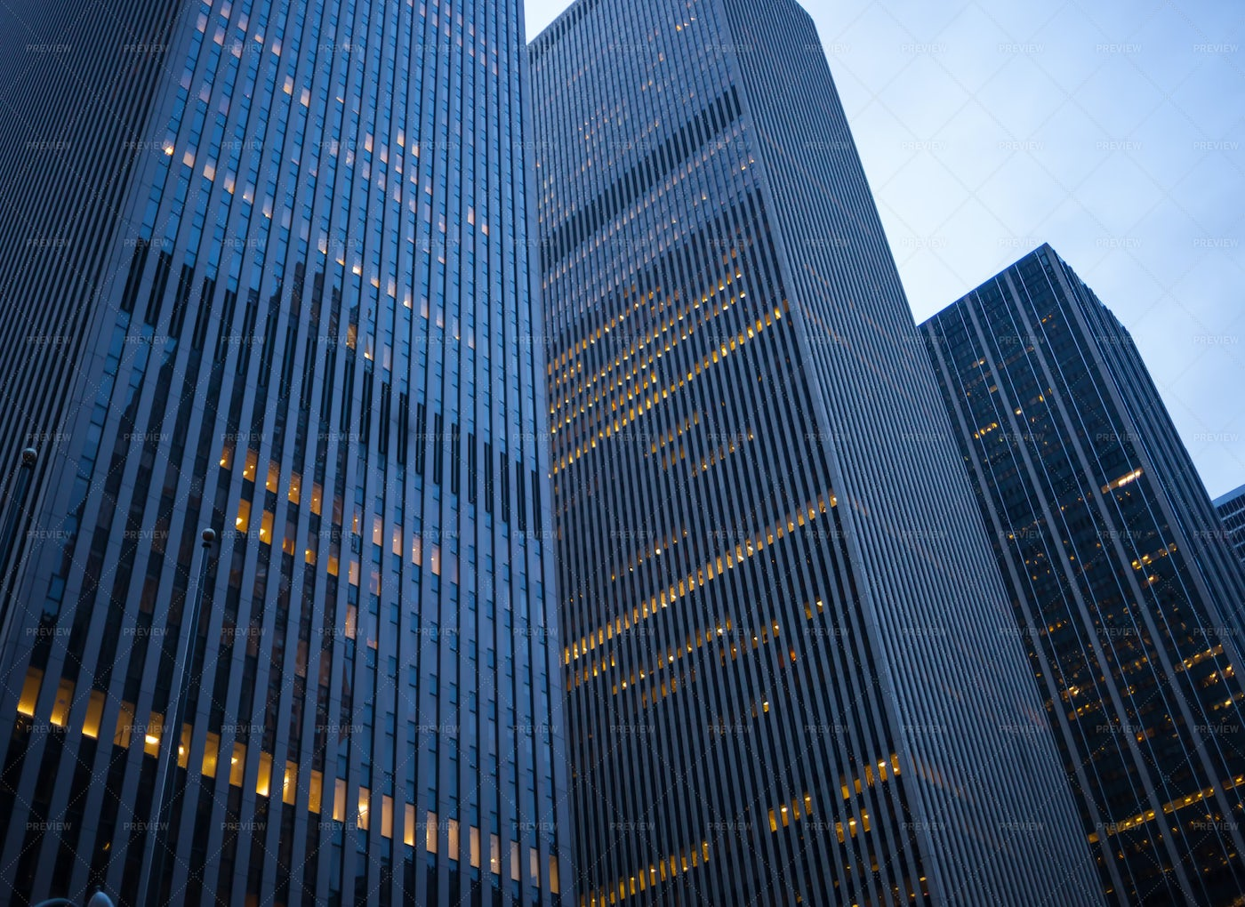 Skyscrapers At Dusk In Downtown Nyc.: Stock Photos