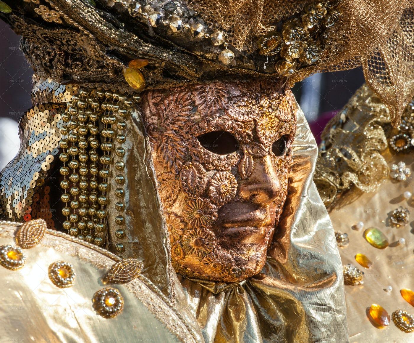 Golden Mask In Venice: Stock Photos