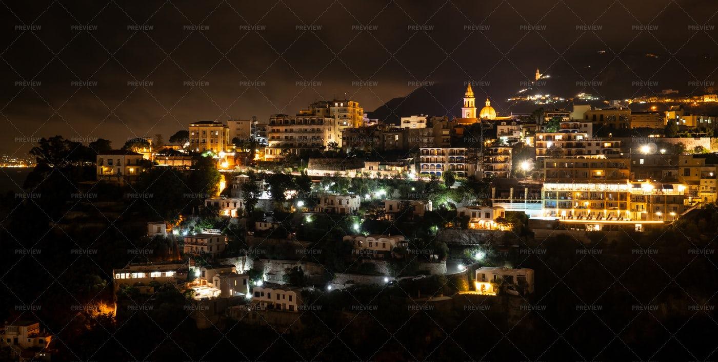 Vico Equense By Night.: Stock Photos