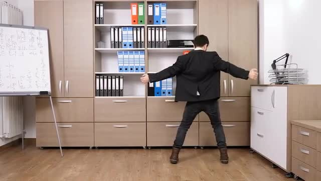 Happy Businessman Dances In Office : Stock Video