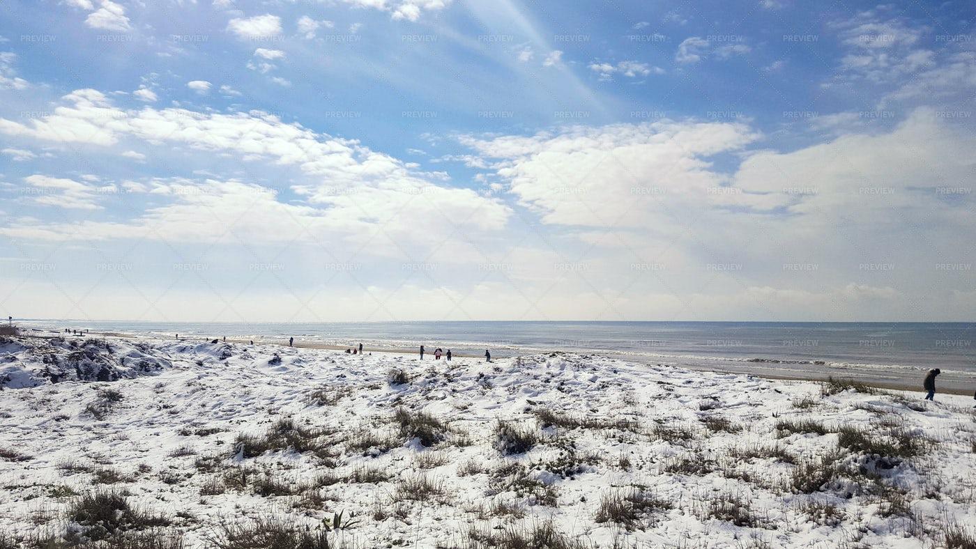 Fresh Snow On Golden Beach.: Stock Photos
