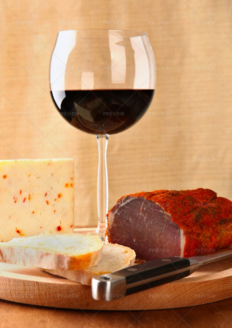 Red Wine With Italian Cheese: Stock Photos
