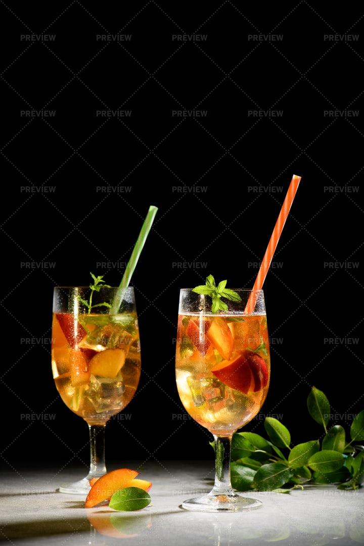 Peach Fresh Tea With Ice: Stock Photos