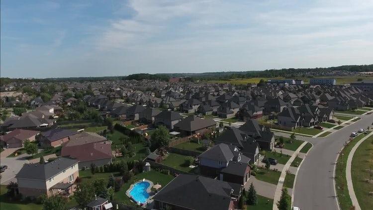 Flying Over A Luxury Neighborhood: Stock Video