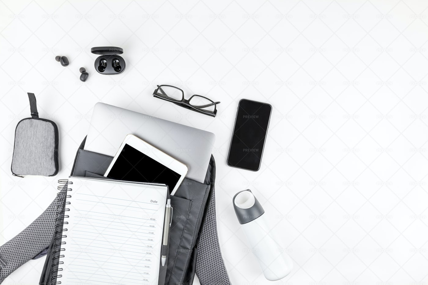 Modern Backpack With Laptop And Gadgets: Stock Photos