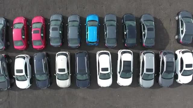 Top View Of Rows of Cars: Stock Video