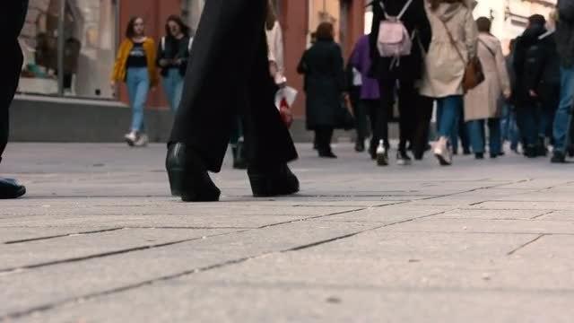 People Walking On Busy Street: Stock Video