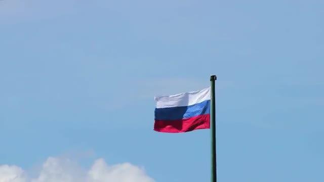Russian Flag Fluttering In Wind : Stock Video