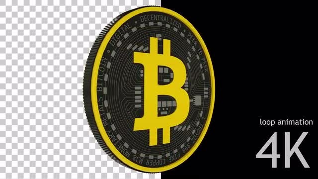 Cartoon Bitcoin Loop : Stock Motion Graphics