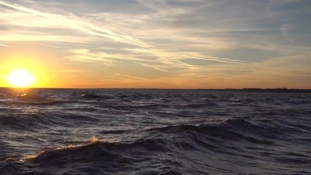 Peacefull Ocean At Sunset: Stock Video