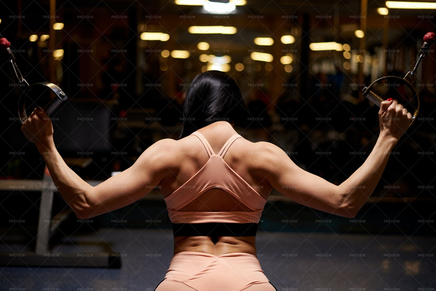 Muscular Woman In The Gym: Stock Photos