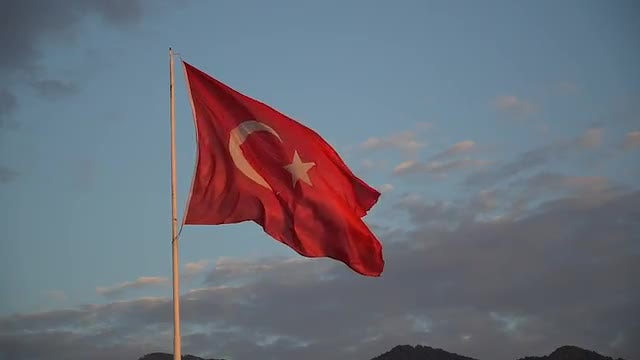 Turkish Flag Waving  : Stock Video