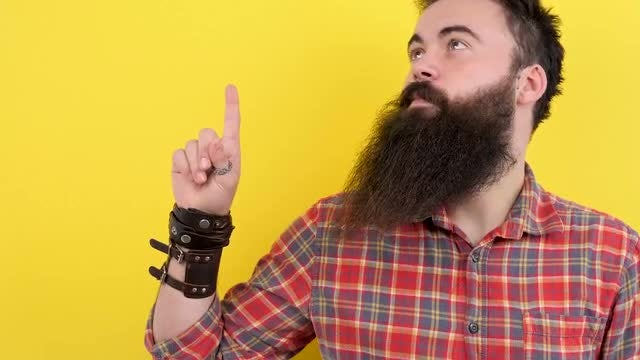 Bearded Hipster Pointing Up: Stock Video