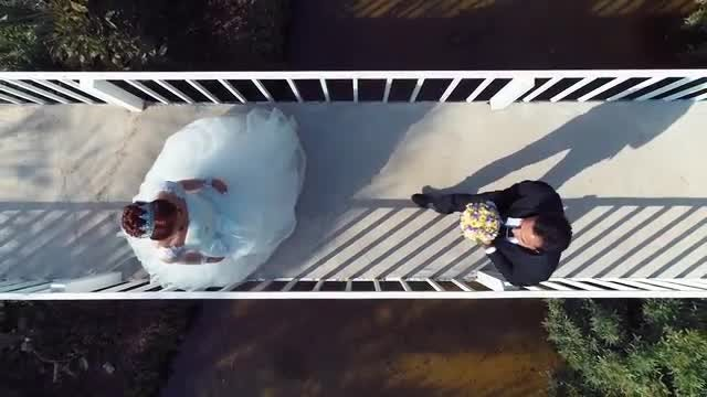 Bride And Groom Meet Halfway: Stock Video