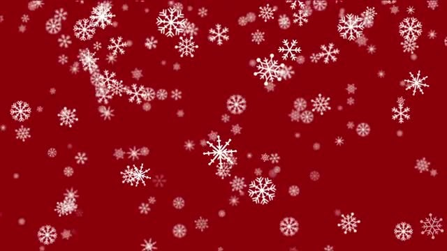 Christmas Snowflakes Red Background Loop Alpha: Stock Motion Graphics