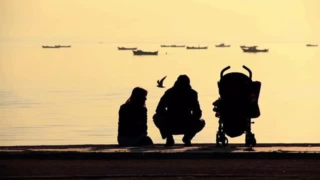 Silhouette Of Family By Sea: Stock Video