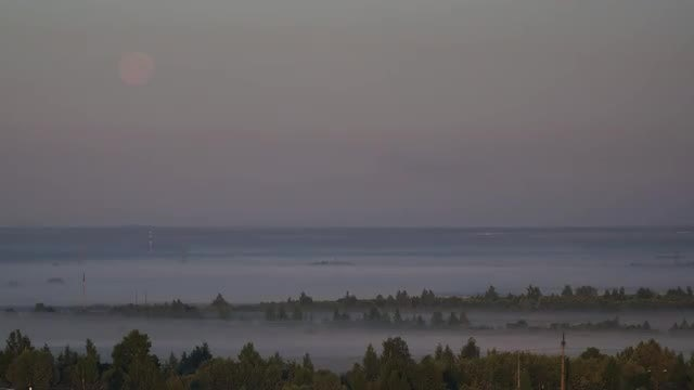 Moon And Morning Fog: Stock Video