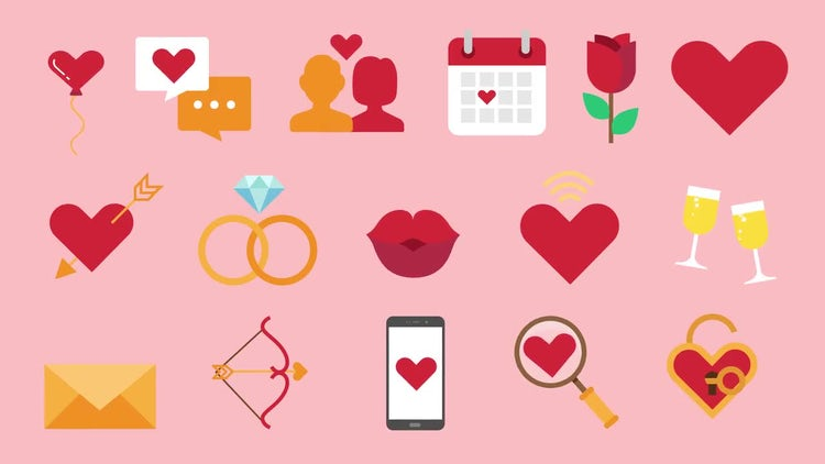 16 Dating Icons Pack: Stock Motion Graphics