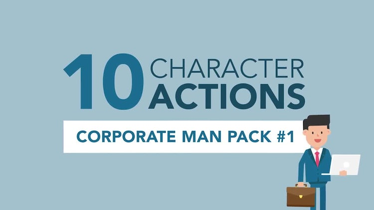 Corporate Man Character Pack #1 - 10 Actions/Poses: Stock Motion Graphics