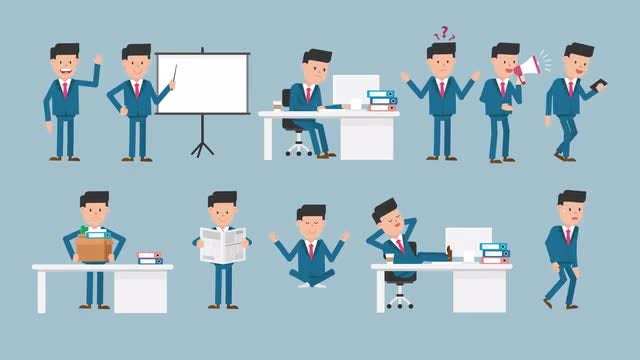 Corporate Man Character Pack #2 - 11 Actions/Poses: Stock Motion Graphics