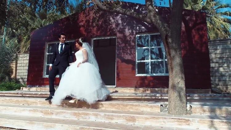 Bride And Groom Walking Downstairs : Stock Video