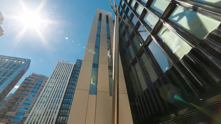 Point Of View Shot of Office Buildings: Stock Video