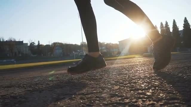 Running Woman Low Shot: Stock Video