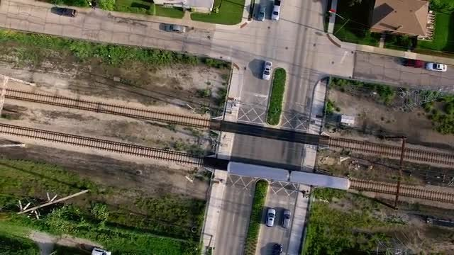 Flying Over A Chicago Commuter Train: Stock Video