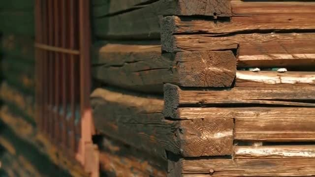 Close-up Shot of Log House: Stock Video
