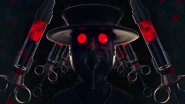 Plague Doctor Bloody Syringes Loop: Stock Motion Graphics