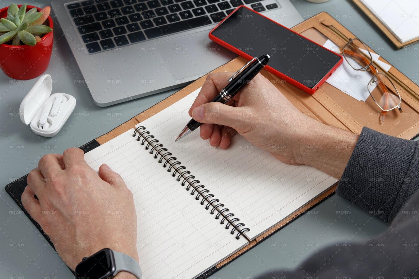 Writing In An Agenda: Stock Photos