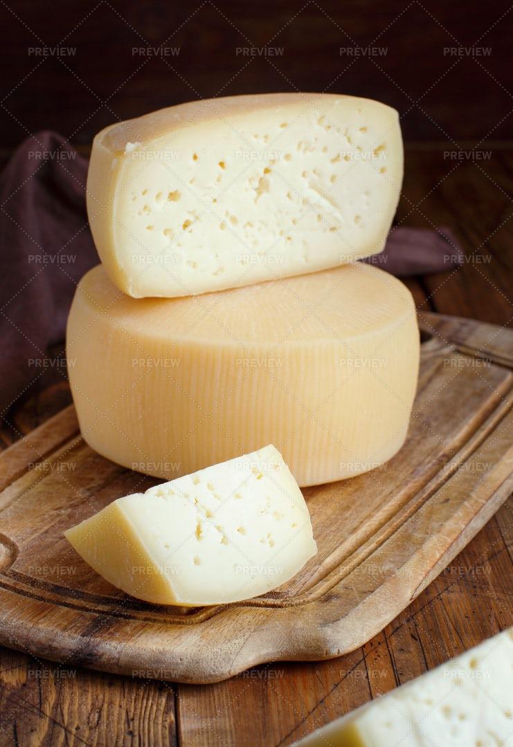 Pieces Of  Fresh Homemade Cheese: Stock Photos