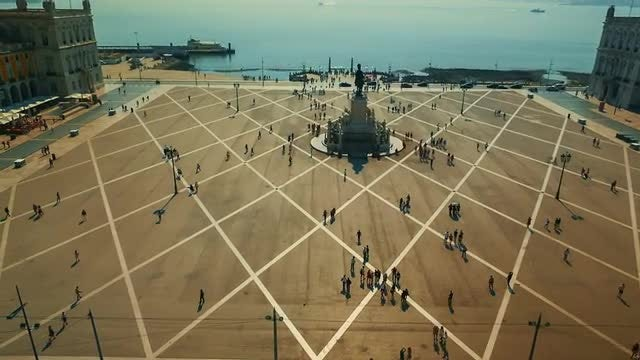 Aerial Shot Of Commerce Square, Lisbon: Stock Video